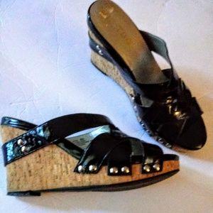 Me Too Women's Black Wedge Cork Heels Size 8